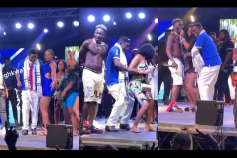 VIDEO: Minister Of Energy, Peter Amewu, 'Grinds' Young Girls During His Victory Concert To The Shock Of Shatta Wale
