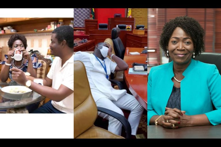 NDC MP, Della Sowah, Trolls NPP MPs For Rushing To Occupy Majority Side At 4 AM With A Photo Of Herself Having Breakfast With Her Husband