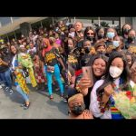 VIDEO: A Bunch Of Young Ghanaian Ladies Line-up At The Airport To Welcome Disqualified BBNaija Housemate, Erica
