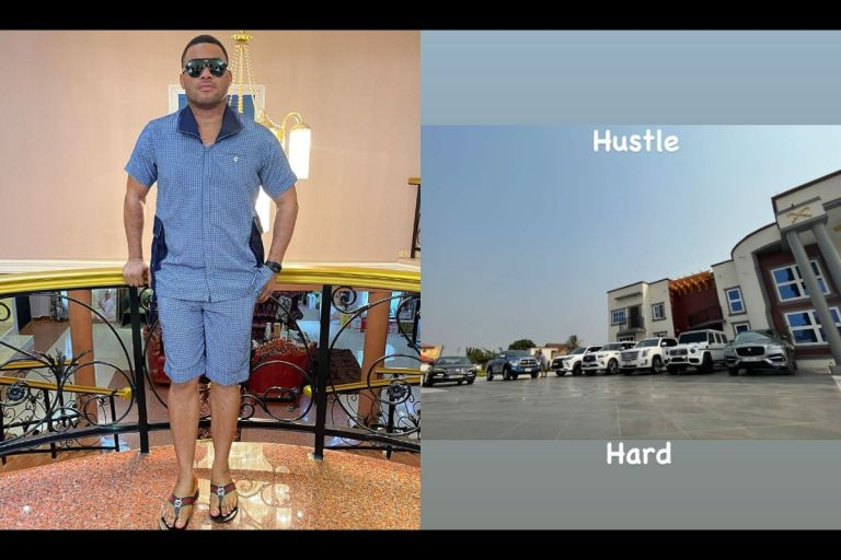 """Hustle Hard"" - Kwadwo Safo Jnr Says As He Puts His Fleet Of Expensive Cars And Mansion On Display"