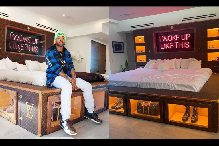 """PHOTOS: """"They Said Invest In Your Bed, So I Did"""" - American Singer, Todrick Hall, Says As He Shows Off His Huge Custom Louis Vuitton Bed"""