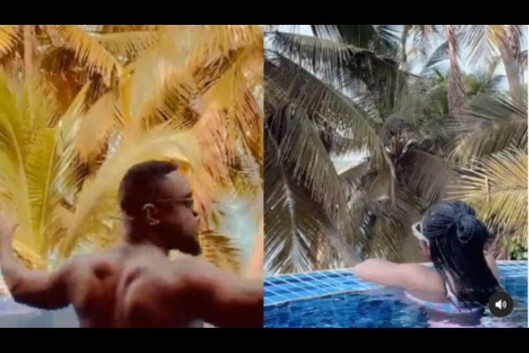 Video Of Sarkodie Having Fun With Tracy Sarkcess In A Swimming Pool On Her Birthday Goes Viral