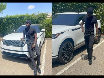 Kuami Eugene Trolled For Dressing Like A Security Man From Bole Bamboi To Receive A Range Rover Car From Dr Kwaku Oteng