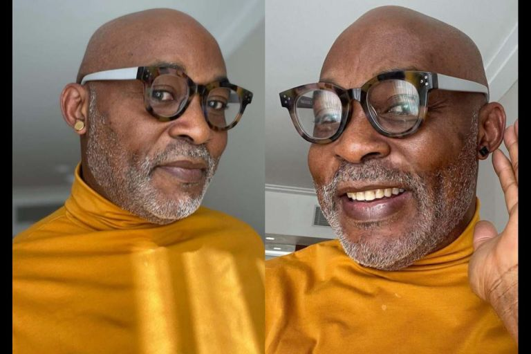 Actor, RMD Shows Off New Look In Lack And Gold Stud Earrings As he Warms Up For His 60th Birthday