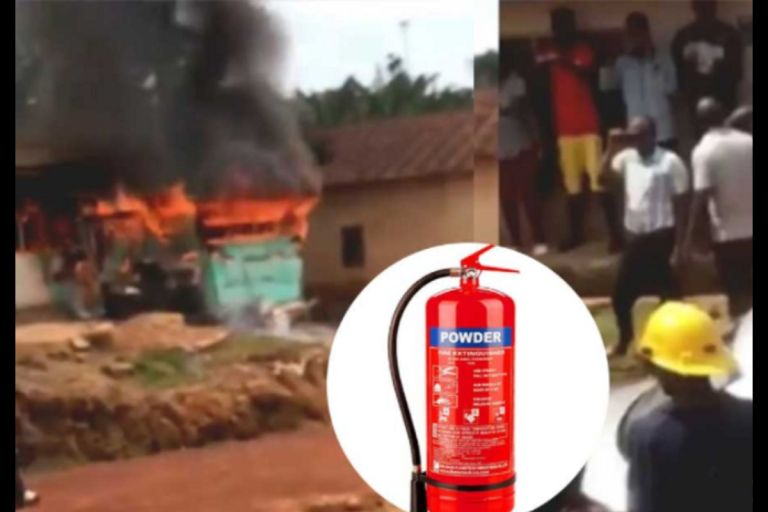 Hilarious Video Of How Ghana Fire Service Personnel Arrived In A Taxi With A Fire Extinguisher To Quench Flames Goes Viral
