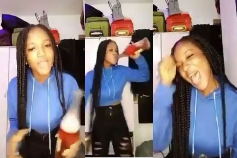 VIDEO: Nigerian Lady Excited As She Celebrates With Wine And Music After Finally Seeing Her Period For August