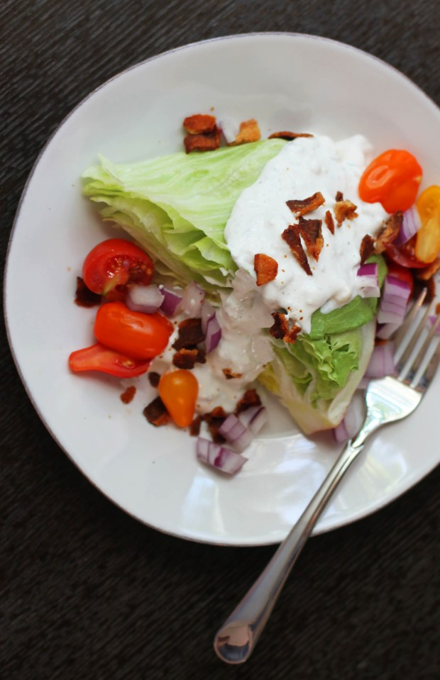 """Make your own """"retro-style"""" blue cheese wedge salad. Recipe for the perfect blue cheese dressing."""