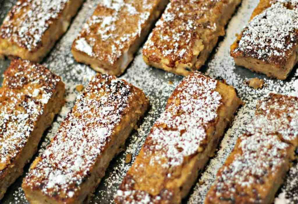 Polenta French Toast Sticks on baking sheet