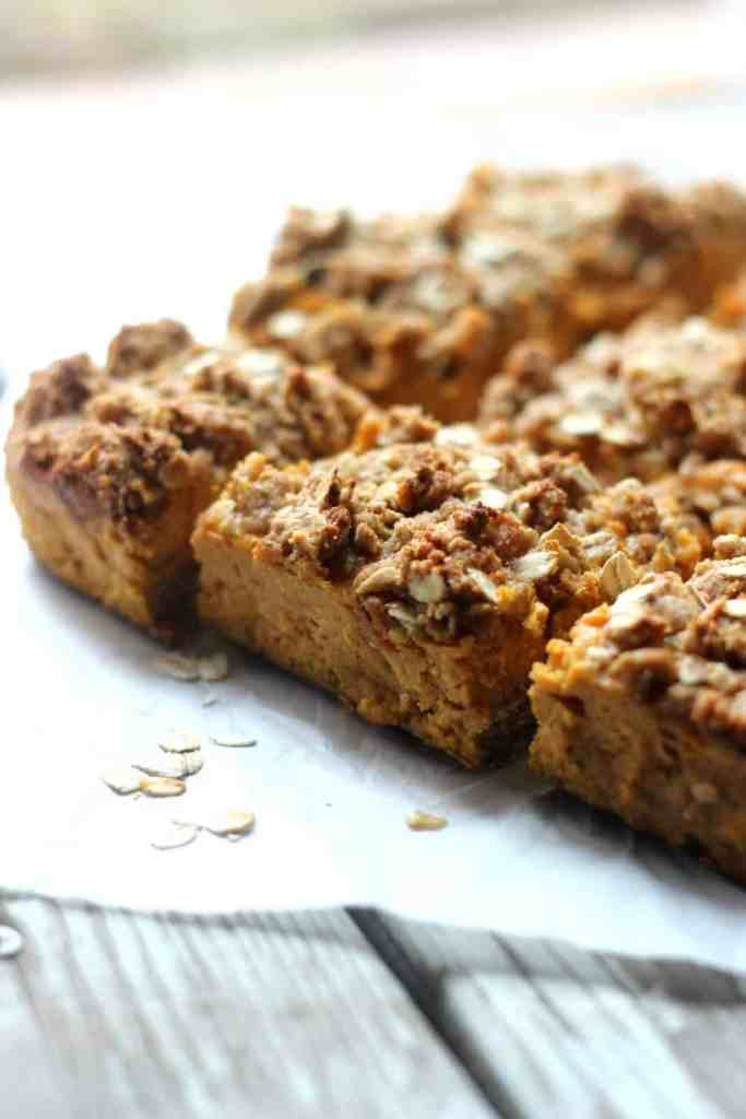 Close-up side shot of pumpkin crumb bars.