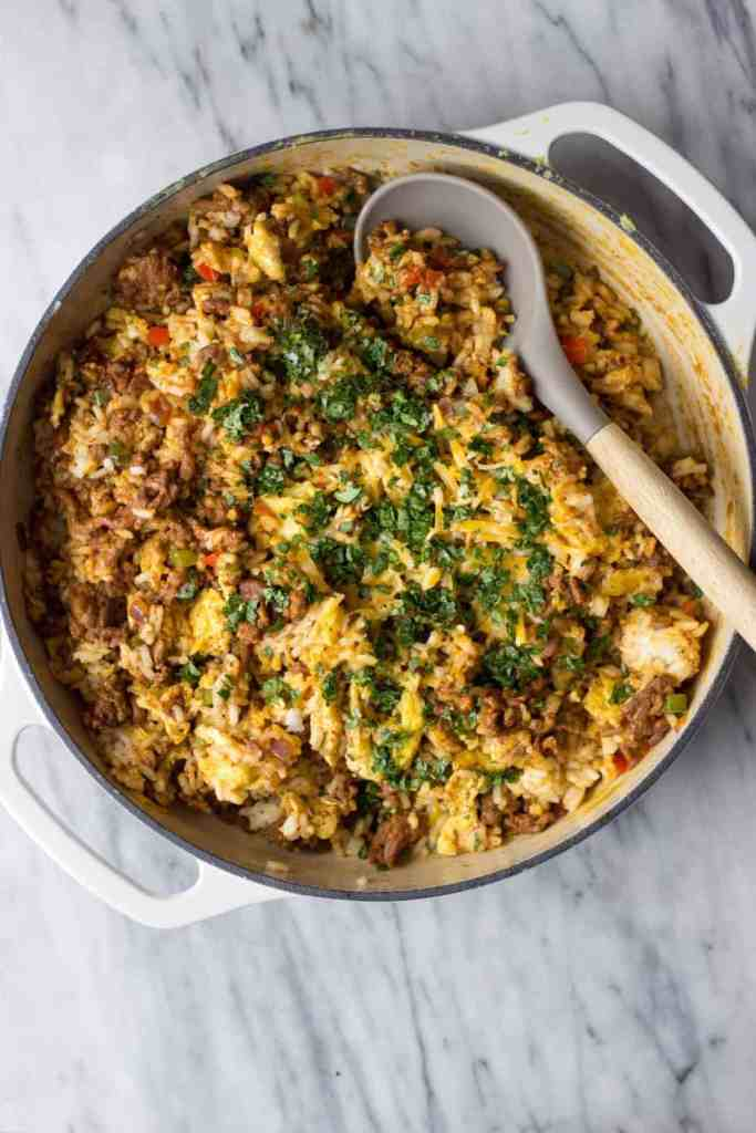 Mexican Fried Rice in a pot as a healthy one pot meal recipe.