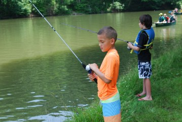 The boys fishing for the first time. Henry said it was boring...