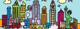 new york city, america, city, city, big apple, landmark, skyscraper, skyline, river, cartoon, drawing, illustration, vector, urban, architecture, statue of liberty, colourful