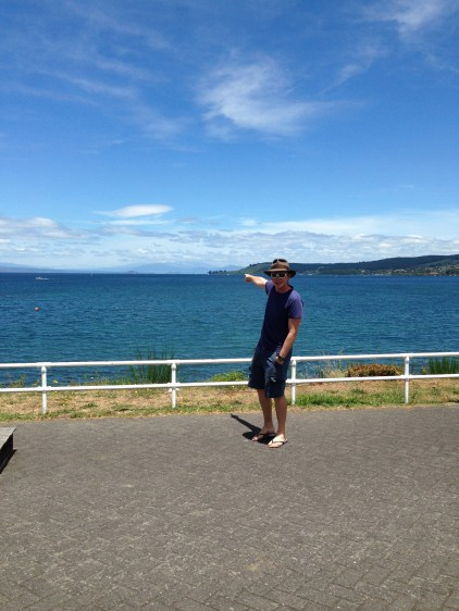 Lake Taupo. From here we could see snow, kayaked out to see giant Maori carvings and general good things.