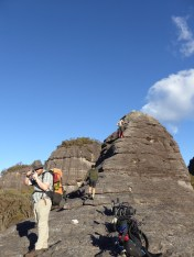 The crew heading up a pinacle....