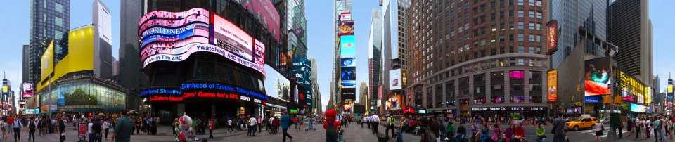 A 360 degree panorama of Times Square.