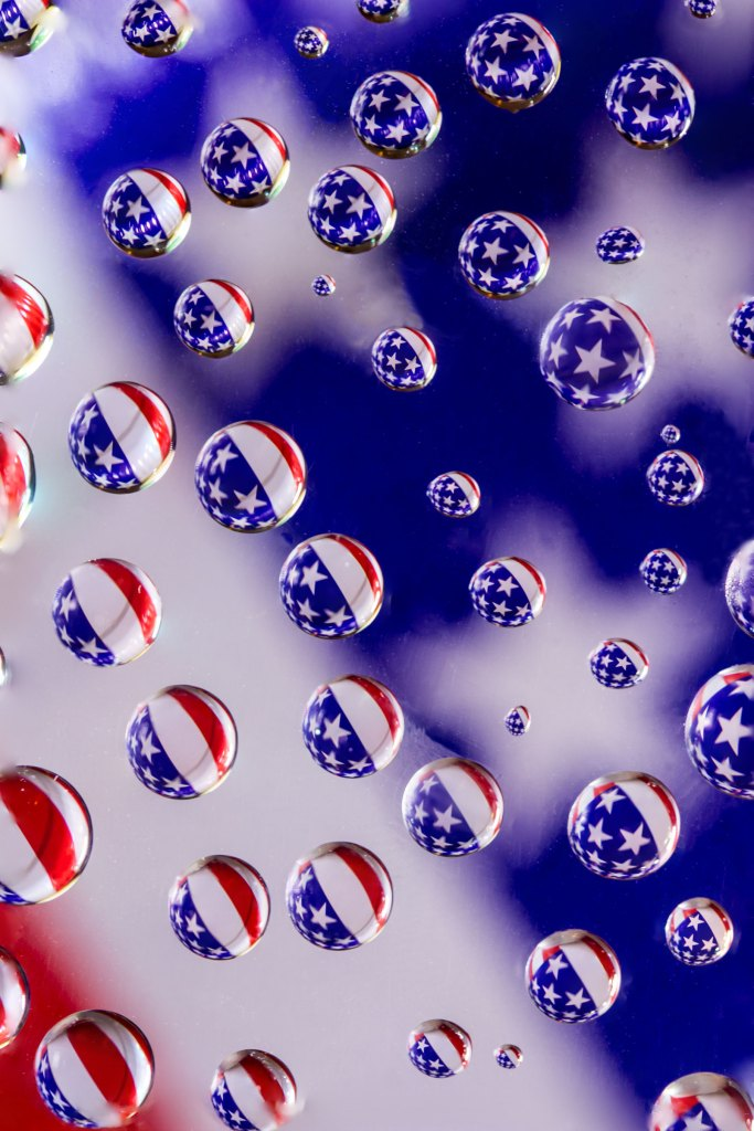 Patriotic water drop refraction