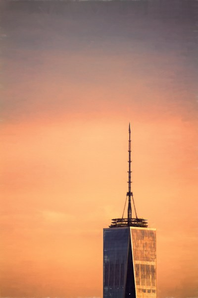 "One World Trade Center (aka ""Freedom Tower"") shot during the ""golden hour"" at sunset."