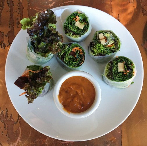 Spring Rolls - Organic Red Leaf Romaine, Carrot, Mint, Basil, Tofu, Wrapped w/ Rice Paper, Peanut Sauce