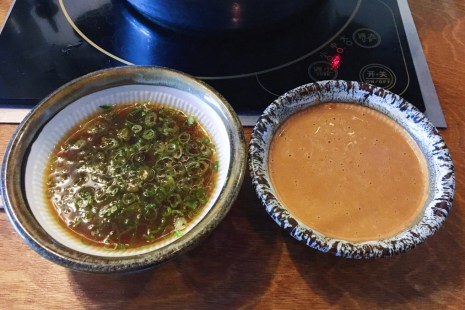 Ponzu Sauce with Scallions and Garlic, Sesame Sauce with grounded Sesame Seeds