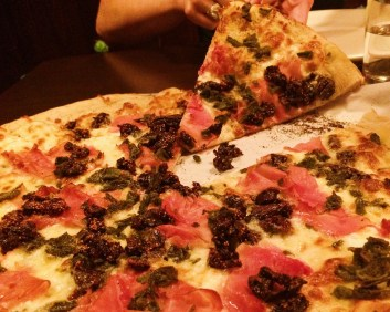 The Pig and the Fig: prosciutto, fig and fried sage with mozzarella on a garlic olive oil base