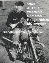 1947 a2b Compton Rough Rider MC member, Al Titus proudly wears club sweater, photo is really 1948
