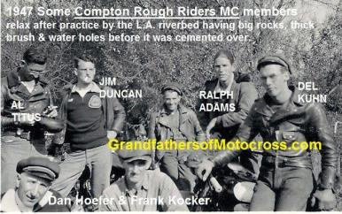 1947 a3 Compton Rough Riders MC, Al Titus, Jim Duncan, Ralph Adams, Del, Dan Hoefer & Frank Kocker