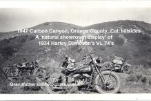 1947 a9 Carbon Canyon OC hills of Kocker's MC 1934 HD VL in center