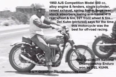 1950 5-27 b6 Del Kuhn on AJS Comp. model at check point, wins 2nd time Greenhorn National Enduro (2)
