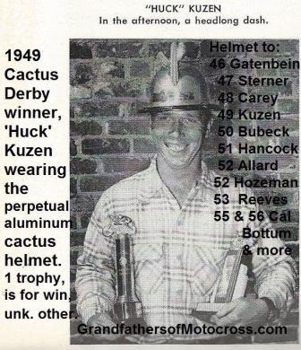 Kuzen, Huck 1949 Cactus Derby winner wearing aluminum helmet
