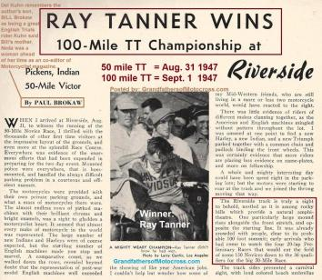 1947 9-1a1 Ray Tanner wins 100 mile NATIONAL TT Riverside, Brokaw article, Kuhn as spectator