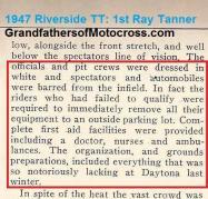 1947 9-1a3 Riverside TT organization, lacked in Daytona