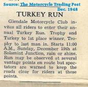 1948 12-15 a3 Ad for H&H GLENDALE MC Turkey Run Motorcycle