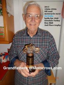 1948 12-19 a13 65 yrs. later, 2013 Del Kuhn 2nd pl. trophy Glendale mc H&H TURKEY RUN, AJS