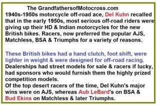 1949 6-0b 8th Seacoast, Del Kuhn, Aub LeBard, Bud Ekins re British vs U.S. motorcycles