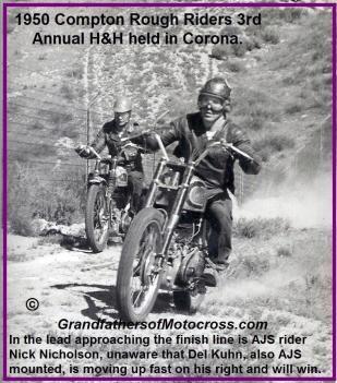 1950 3-19 b2 Compton Rough Riders H&H, N. Nicholson leading, Del Kuhn behind but Kuhn wins