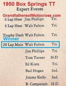 1950 4-2 a4d Box Springs TT, EXPERT J. Phillips, W. Fulton, T. Turner, Kretz Sr., Bud Hogan, Jimmy Kelly, B. Campanale