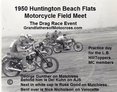 1950 5-7 a3 Htg Bch Flats, DRAG RACE Del #4, front Geo. Gunther, Del behind, Russ Good wht cap, Nick Nicholson bent