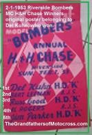 1953 2-1LL Riverside Bombers H&H Model K hot pink RESULTS poster