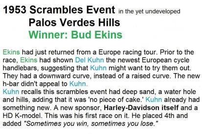 1953 4-0 s0 PALOS VERDES SCRAMBLES, Bud Ekins won
