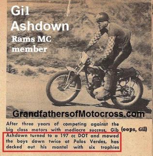 1953 4-0 s3b Gil Ashdown Rams MC member on his 197 cc DOT