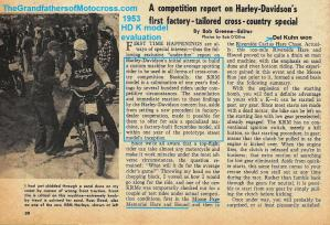 1953 5-0k4b HD motorcycle, HD K model under fire article