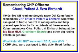 1953 5-0p1b special racing events, Remembering CHP officers Chuck Pollard & Ezra Ehrhardt