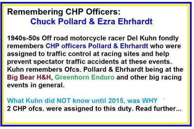 1953 5-0p1b special racing events, Remembering CHP officers Chuck Pollard & Ezra Ehrhardt