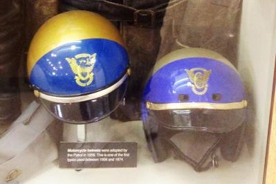 1953 5-0p8, still no helmets but 1956 CHP helmets required, CHP academy museum 2014