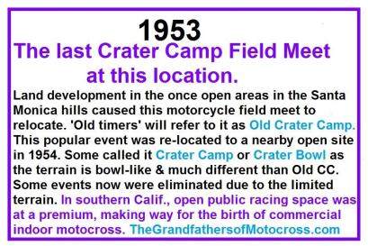 Old Crater Camp, New Crater Camp, Crater Bowl, birth of motocross
