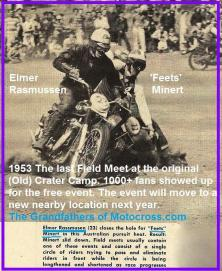 1953 6-0cy 2d ELMER RASMUSSEN, FEETS MINERT, Last Meet Old Crater Camp