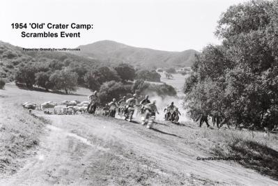 1954 2-0p3 Riders taking off at new Crater Camp at Scrambles