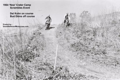 1954 2-0p8 Del Kuhn #21 on Triumph at new Crater Camp Scrambles Del Kuhn, left & Bud Ekins
