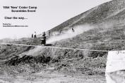 1954 2-0q6 Riders coming downhilll at new Crater Camp at Scrambles, rope strung across to contain course