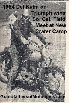 1954 a0 MAY Del Kuhn on Triumph wins So. Cal. Field Meet at new Crater Camp N. San Fernando Valley